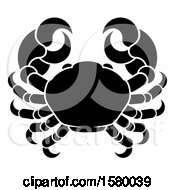 Clipart Of A Zodiac Horoscope Astrology Cancer Crab Design Black And White Royalty Free Vector Illustration by AtStockIllustration