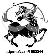 Clipart Of A Zodiac Horoscope Astrology Centaur Sagittarius Design In Black And White Royalty Free Vector Illustration