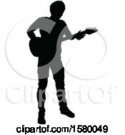 Poster, Art Print Of Silhouetted Male Guitarist