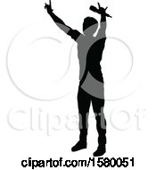 Clipart Of A Silhouetted Male Singer Royalty Free Vector Illustration