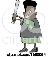Cartoon Tough Black Woman Holding A Bat