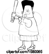 Cartoon Lineart Tough Black Woman Holding A Bat