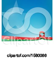 Clipart Of A Burkina Faso Ribbon Flag Over A Blue And White Background Royalty Free Vector Illustration
