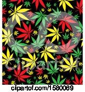 Clipart Of A Jamaican Marijuana Pot Leaf Background Royalty Free Vector Illustration