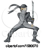 Clipart Of A Cartoon Ninja Holding A Sword Royalty Free Vector Illustration by Domenico Condello
