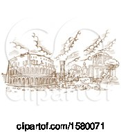 Clipart Of A Sketched Scene Of The Theatre Of Marcellus In Rome Italy Royalty Free Vector Illustration