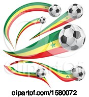 Clipart Of 3d Soccer Balls And Senegal Flags Royalty Free Vector Illustration