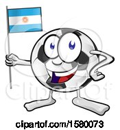 Soccer Ball Mascot Character Holding An Argentine Flag