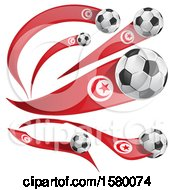 Clipart Of 3d Soccer Balls And Tunisia Flags Royalty Free Vector Illustration