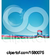 Poster, Art Print Of Azerbaijan Ribbon Flag Over A Blue And White Background