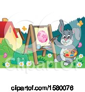 Clipart Of A Happy Easter Bunny Painting An Egg Royalty Free Vector Illustration