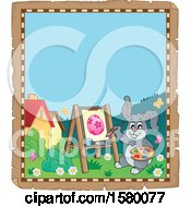 Clipart Of A Parchment Border Of An Easter Bunny Painting An Egg Royalty Free Vector Illustration
