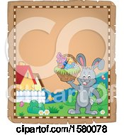 Poster, Art Print Of Parchment Border Of An Easter Bunny Holding A Basket