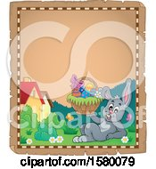 Clipart Of A Parchment Border Of An Easter Bunny Holding A Basket Royalty Free Vector Illustration
