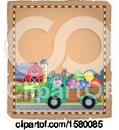 Clipart Of A Parchment Border Of An Easter Bunny Driving A Truck Royalty Free Vector Illustration