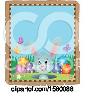 Clipart Of A Parchment Border Of An Easter Bunny Royalty Free Vector Illustration