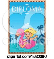 Clipart Of A Diploma Design With A Girl On A Flamingo Swim Float Royalty Free Vector Illustration by visekart
