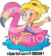 Clipart Of A Girl On A Flamingo Swim Float Royalty Free Vector Illustration