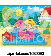 Clipart Of A Girl On A Flamingo Swim Float In A Swimming Pool Royalty Free Vector Illustration by visekart