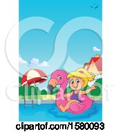 Girl On A Flamingo Swim Float In A Swimming Pool