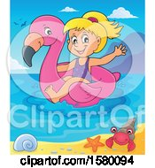 Clipart Of A Girl On A Flamingo Swim Float In The Ocean Royalty Free Vector Illustration by visekart