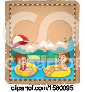 Clipart Of A Parchment Boder Of Children Foating On Inner Tubes Royalty Free Vector Illustration