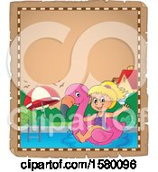 Clipart Of A Parchment Border Of A Girl On A Flamingo Swim Float Royalty Free Vector Illustration by visekart
