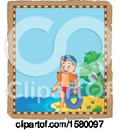 Clipart Of A Parchment Border Of A Boy With An Inner Tube On An Island Beach Royalty Free Vector Illustration