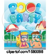 Clipart Of A Boy And Girl Wearing Snorkel Masks Under Pool Party Text Royalty Free Vector Illustration