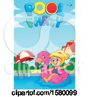 Clipart Of A Girl On A Flamingo Swim Float Under Pool Party Text Royalty Free Vector Illustration by visekart