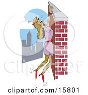 Damsel In Distress Hanging From A Wall High Above A City Clipart Illustration