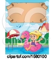 Clipart Of A Parchment Scroll Over A Girl On A Flamingo Swim Float In A Swimming Pool Royalty Free Vector Illustration by visekart