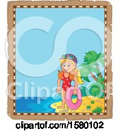 Clipart Of A Parchment Border Of A Girl With An Inner Tube On An Island Beach Royalty Free Vector Illustration