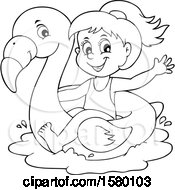 Clipart Of A Black And White Girl On A Flamingo Swim Float Royalty Free Vector Illustration by visekart