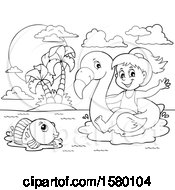 Clipart Of A Black And White Girl On A Flamingo Swim Float Near An Island Royalty Free Vector Illustration by visekart