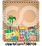 Clipart Of A Parchment Border Of A Boy And Girl Wearing Snorkel Masks Royalty Free Vector Illustration