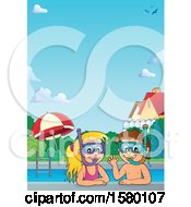 Clipart Of A Border Of A Boy And Girl Wearing Snorkel Masks Royalty Free Vector Illustration