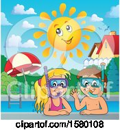 Clipart Of A Boy And Girl Wearing Snorkel Masks Under A Happy Sun Royalty Free Vector Illustration
