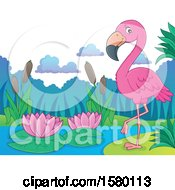 Clipart Of A Pink Flamingo Bird On A Beach Royalty Free Vector Illustration by visekart