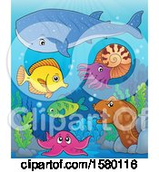 Clipart Of Cute Sea Creatures Royalty Free Vector Illustration