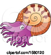 Clipart Of A Cute Nautilus Royalty Free Vector Illustration