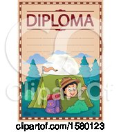 Clipart Of A Diploma With A Scout Boy Camping And Waving From A Tent Royalty Free Vector Illustration