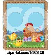 Parchment Border Of Easter Eggs Chicks And A Hen