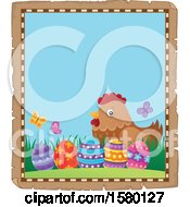 Poster, Art Print Of Parchment Border Of Easter Eggs And A Hen