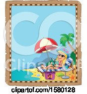Clipart Of A Parchment Border Of A Girl Reading And Sun Bathing On A Beach Royalty Free Vector Illustration