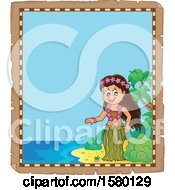 Clipart Of A Parchment Border Of A Hawaiian Hula Dancer On A Beach Royalty Free Vector Illustration