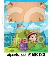 Clipart Of A Parchment Scroll Over A Scout Boy Camping And Waving From A Tent Royalty Free Vector Illustration