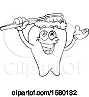 Clipart Of A Cartoon Lineart Tooth Brushing Itself Royalty Free Vector Illustration