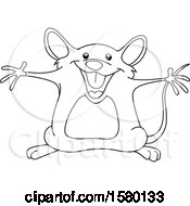 Clipart Of A Cartoon Lineart Happy Mouse With Open Arms Royalty Free Vector Illustration by yayayoyo