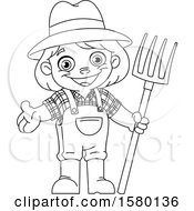 Clipart Of A Cartoon Lineart Farmer Kid With A Pitchfork Royalty Free Vector Illustration